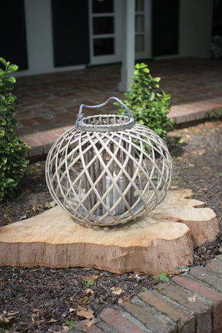 Low Round Grey Willow Lantern With Glass - Large
