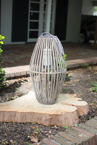 Ribbed Grey Willow Lantern With Glass - Large