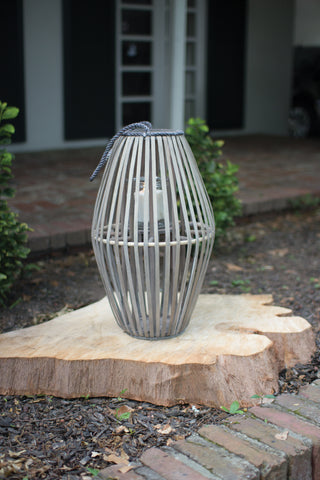 Ribbed Grey Willow Lantern With Glass - Small
