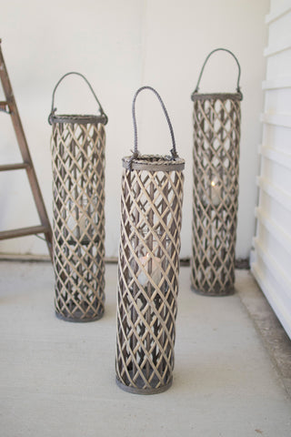 Grey Willow Lantern With Glass - Medium