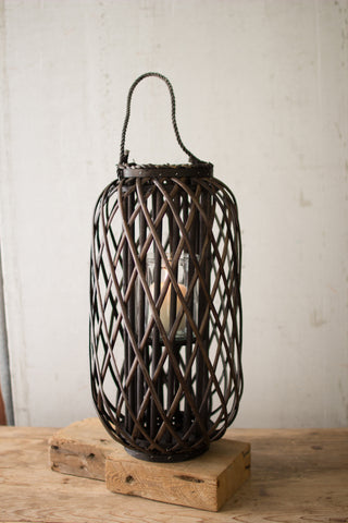Large Willow Lantern With Glass - Dark Brown