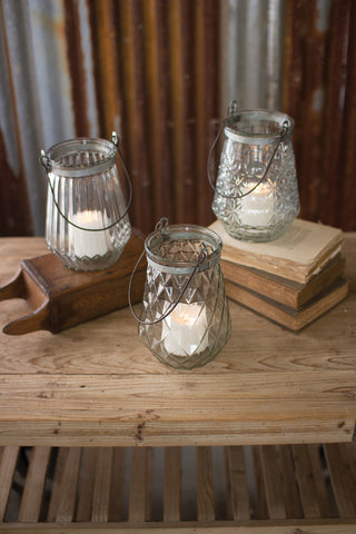 Set/3 Glass Lanterns With Wire Handles - One Each Design
