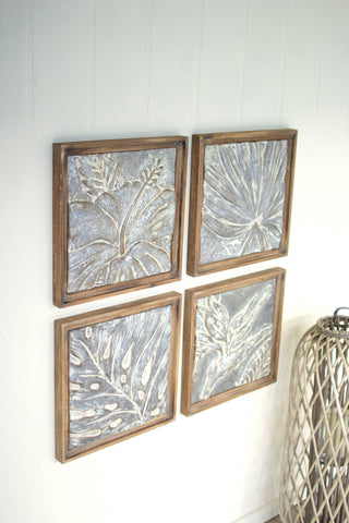 Set Of 4 Framed Tropical Pressed Metal Tiles