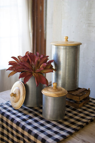S/3 Galvanized Canisters With Wooden Tops