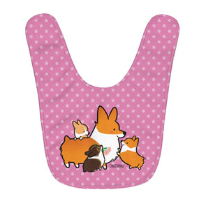 Corgi Mom & Puppies Fleece Baby Bib | Pink Polka Dots