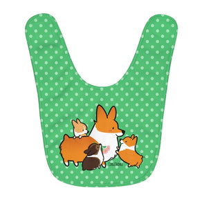 Corgi Mom & Puppies Fleece Baby Bib | Green Polka Dots