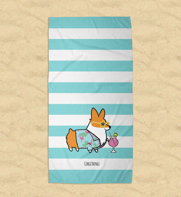 "NEW! ""Miami Vibes"" Corgi Beach Towel"