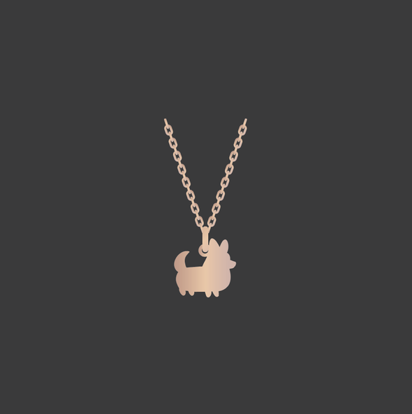 PREORDER: Corgi Things Necklace | Corgi With Tail | Rose GoldFilled