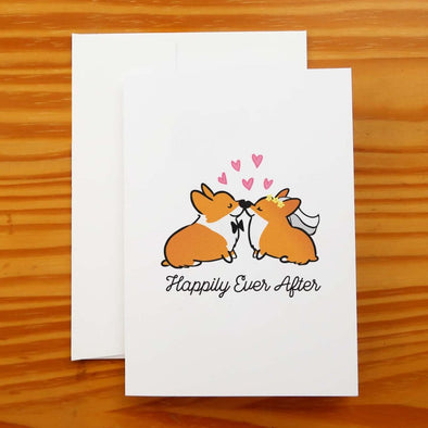 """Happily Ever After"" Corgi Wedding Greeting Card"