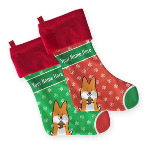 Customizable Corgi Christmas Stocking | 2 Sizes | Holiday Collection
