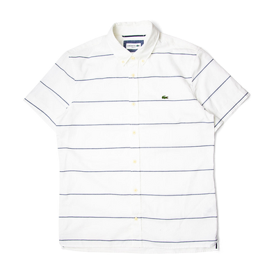 Lacoste Slim Fit Striped Cotton And Linen Short Sleeves Shirt