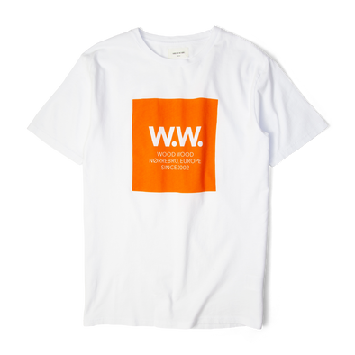 Wood Wood WW Square T-Shirt White/Orange