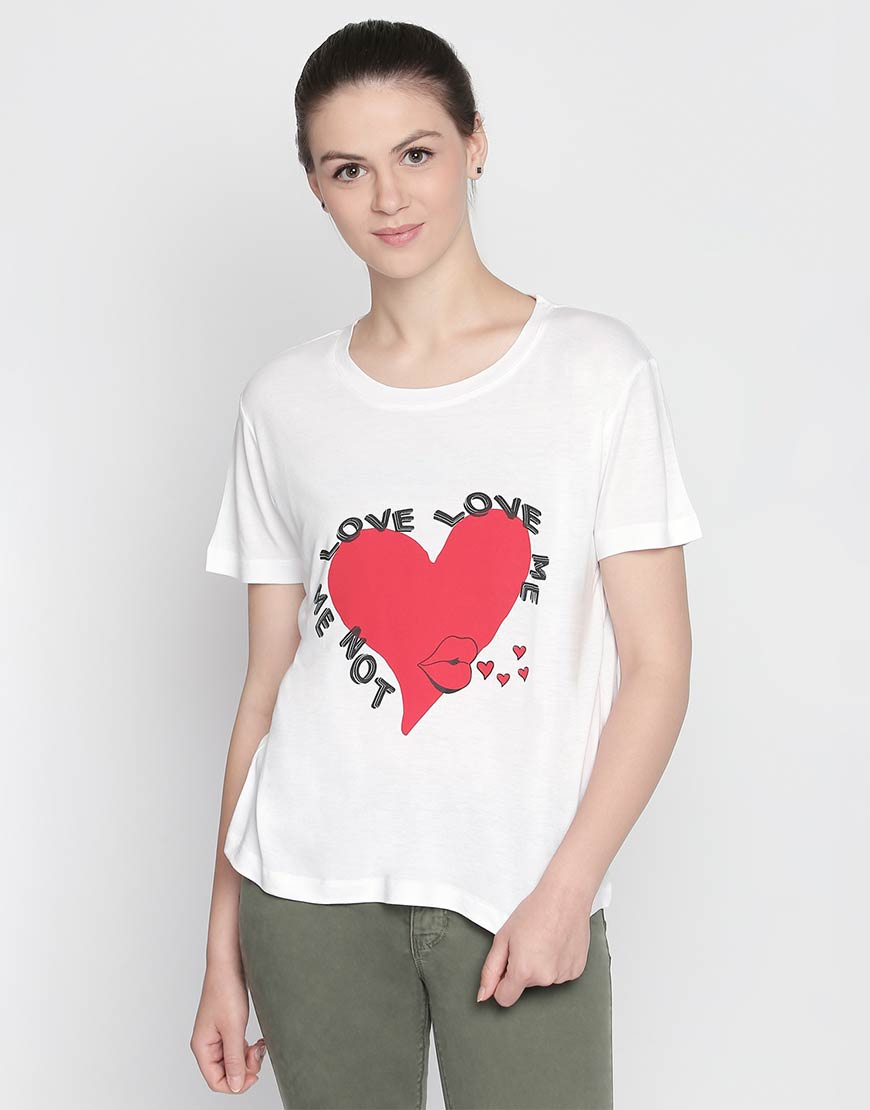 White  Love Print Crop Tee