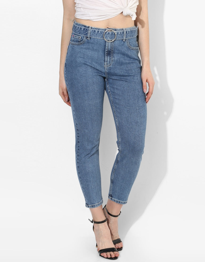 Valencia Mom Fit  Mid Blue Jeans