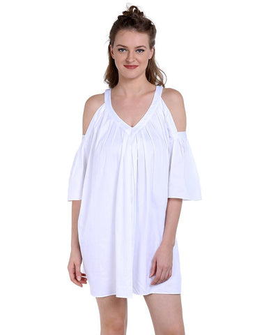 White Cotton Satin Cold-Shoulder Dress