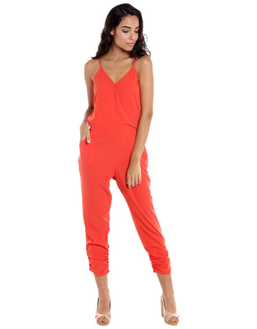 Coral Polyester Strappy Jumpsuit