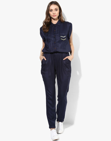 Navy Blue Rayon Twill Jumpsuit