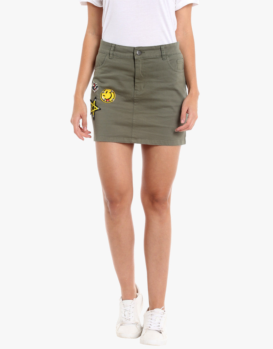 Olive Cotton Spandex Skirt With Badges