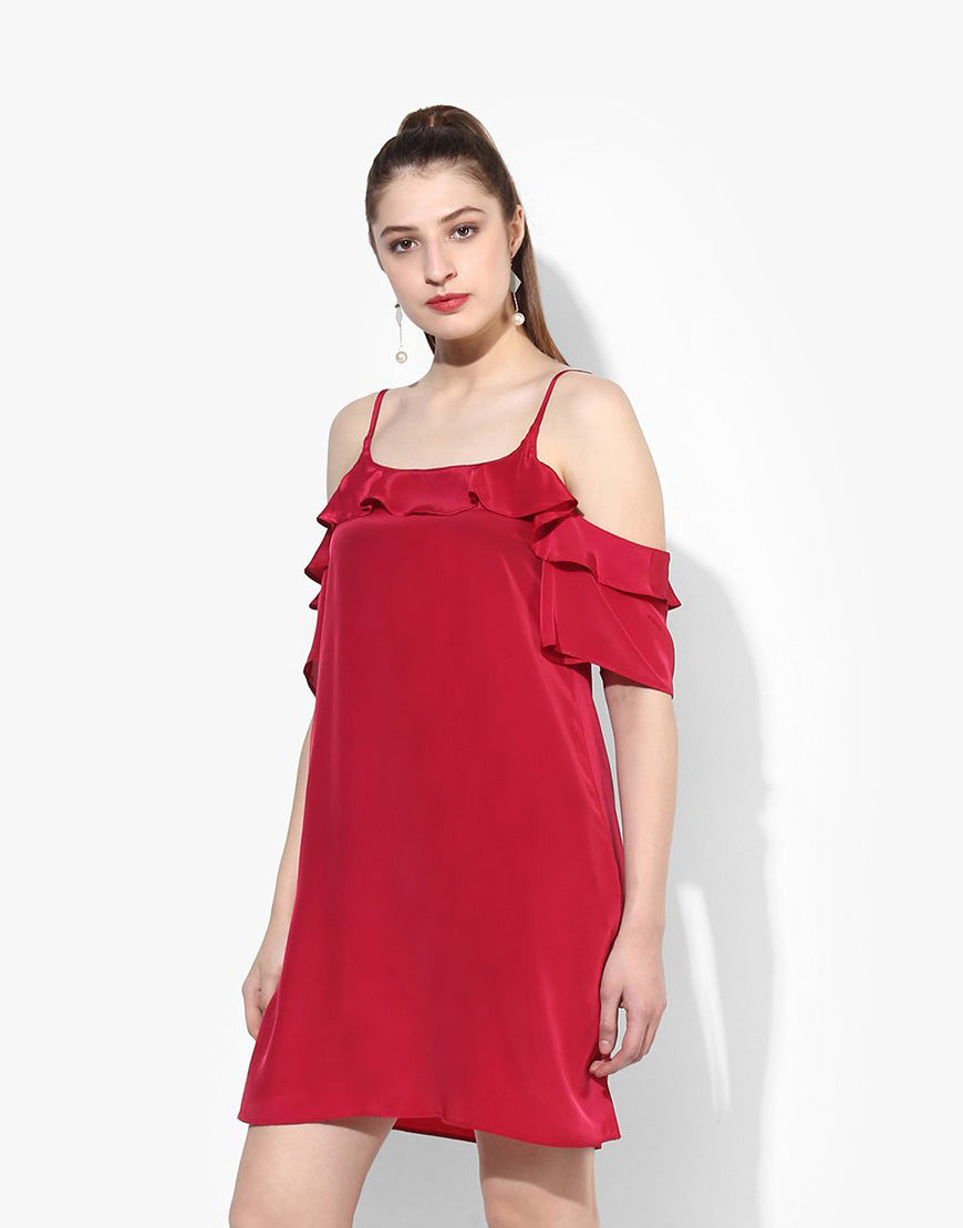 Red French Crepe Cold Shoulder Dress