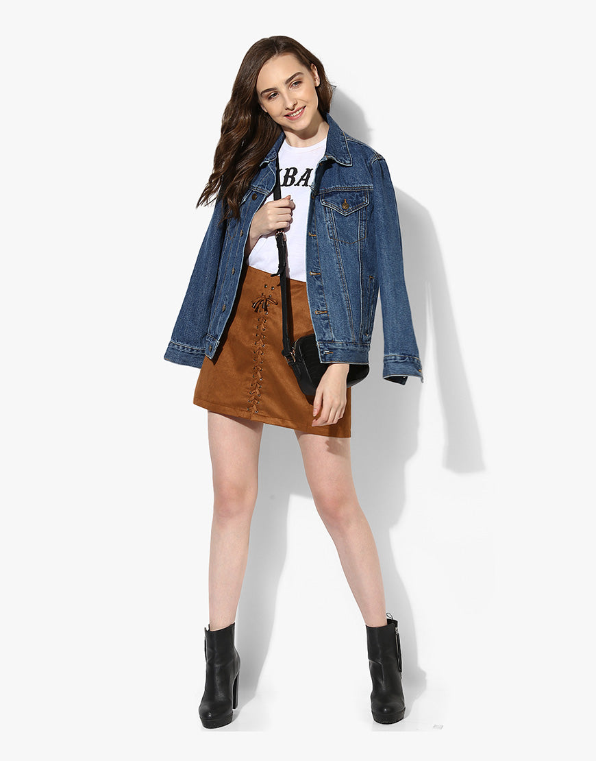 Tan Suede A Line Casual Skirt For Women Online Shopping
