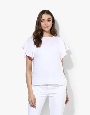White Cotton Poplin Short Sleeve Top