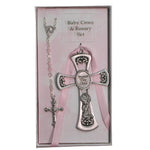 Pewter Cross and Rosary Set- Girl - St. Mary's Gift Store