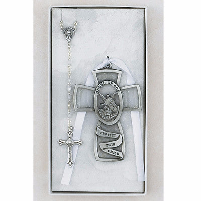 Crib Medal Baby Cross and Rosary  Set - White - St. Mary's Gift Store