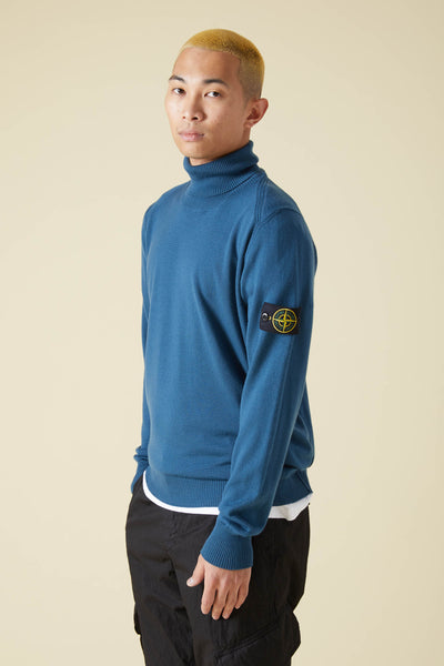 537C4 SLUB WOOL GARMENT DYED TURTLENECK - DARK BLUE