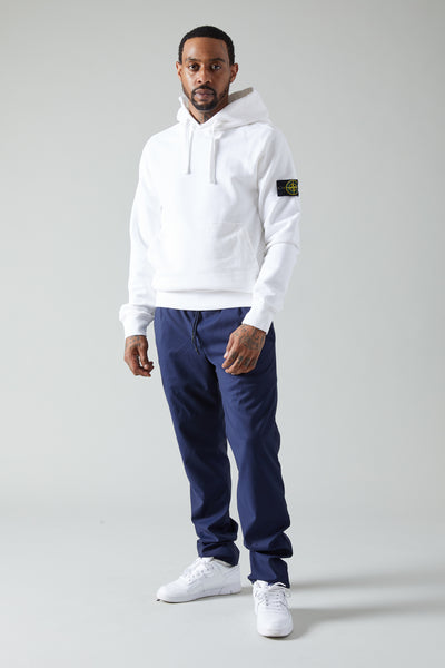 62820 BRUSHED COTTON FLEECE PULLOVER HOODIE - WHITE