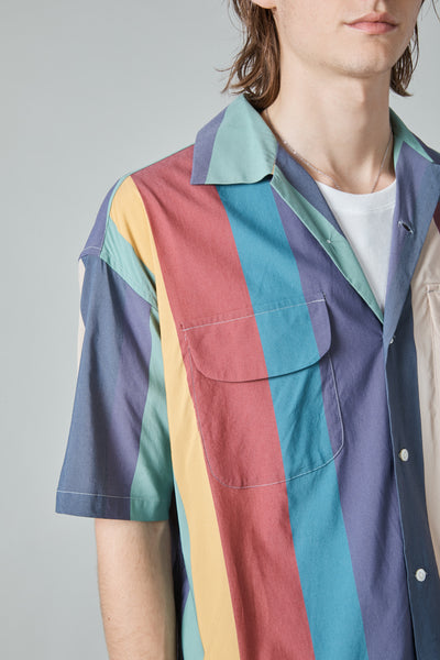 MULTICOLOR STRIPE BAGGY SHIRT - NAVY