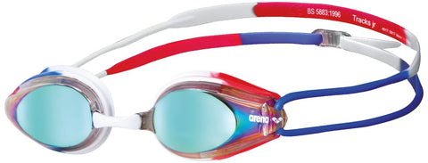 Arena Junior Racing Goggles Tracks Mirror Gold/Blue/Red