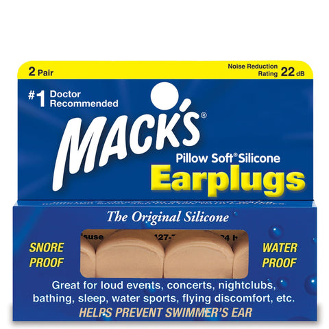 Macks Moldable Silicone Earplugs Pillow Soft Beige 2-pair Box - clickswim.com