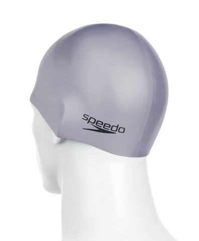 Speedo Plain Moulded Silicone Cap Adult Chrome - clickswim.com