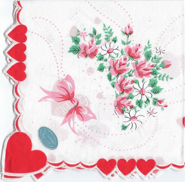Vintage-Inspired Hanky - Red Heart Corner with Roses Tussie Mussie and Bow