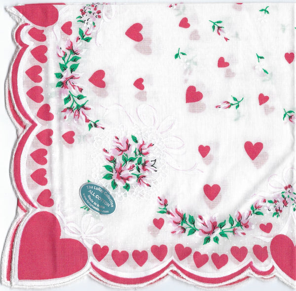 Vintage-Inspired Hanky - Red Heart Corner with Scalloped Heart Border