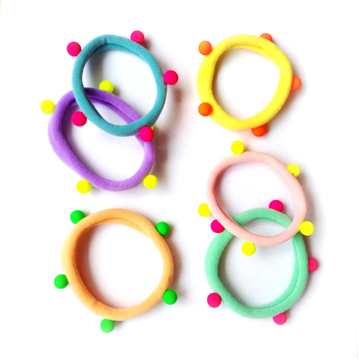 pastel/neon studded ponytail holders // hello shiso hair accessories for girls
