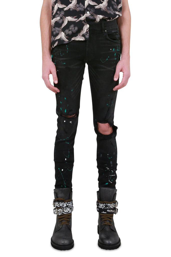 Paint Splatter Jeans - Aged Black