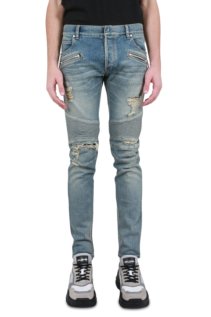 BALMAIN: Destroyed Biker Denim - Blue | LESSONS