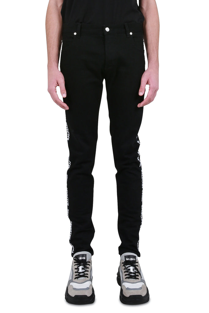 Logo Stripe Slim Denim - Black