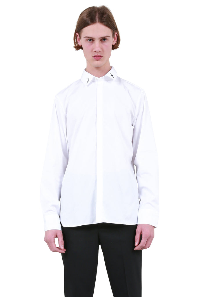Printed Bolt Collar Shirt - White