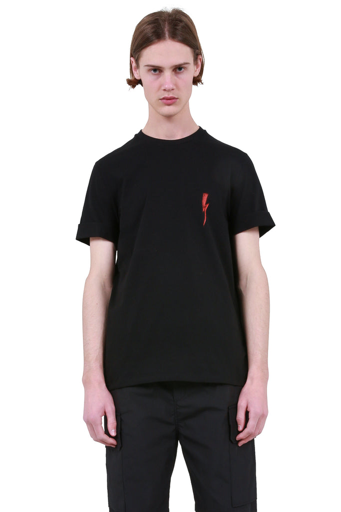 Scribble Bolt Roll-Up Sleeve T-Shirt - Black