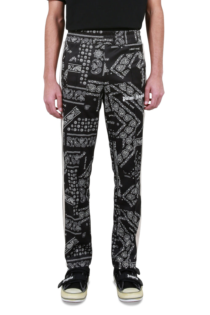 PALM ANGELS: Bandana Classic Track Pants - Black/White | LESSONS