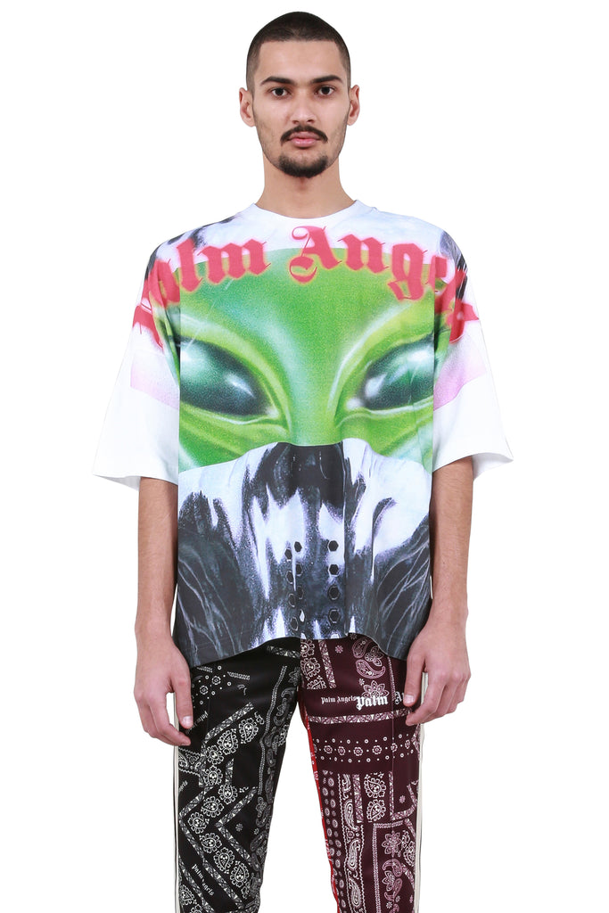 PALM ANGELS: All Over Alien T-Shirt - White | LESSONS