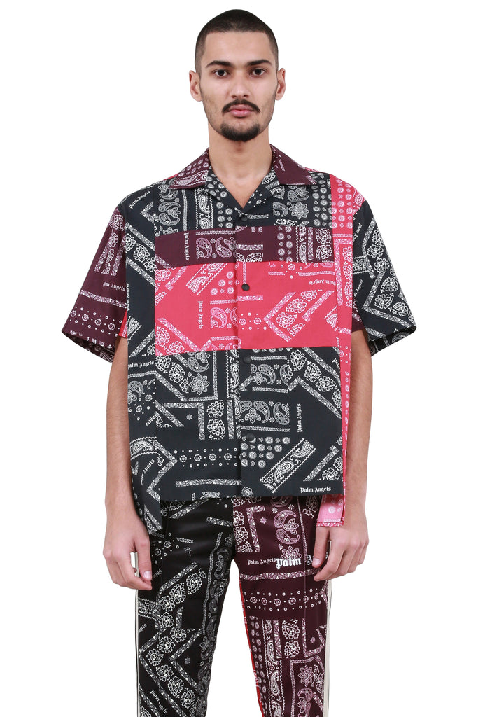 PALM ANGELS: Bandana Patchwork Bowling Shirt - Multicolor | LESSONS