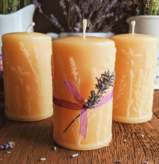 beeswax candles with lavender design