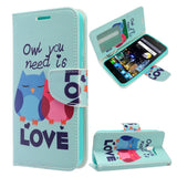 Alcatel Idol 4 / Nitro 49 - Design Wallet Flap Pouch with TPU Inside - Owl Love