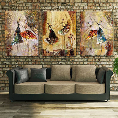 3 Panel Handpainted Ballet Dancer Abstract Modern Wall Art Picture Home Decor Oil Painting On Canvas For Bedroom-Dollar Bargains Online Shopping Australia