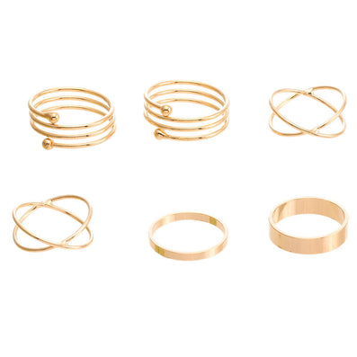 Unique Ring Set Punk Gold Color Knuckle Rings for women Finger Ring 6 PCS Ring Set-Dollar Bargains Online Shopping Australia
