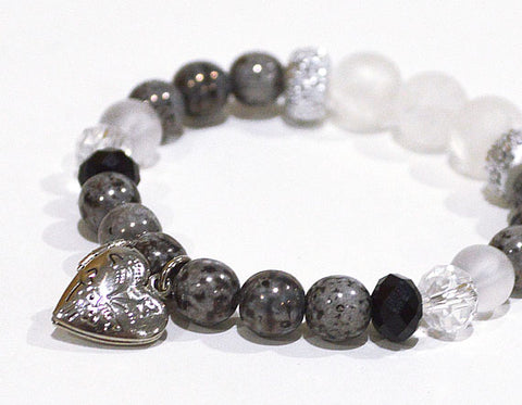 HEART Charm Locket Bracelet Gray marbled w Glitter & Crystal Glass Accent Beads