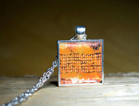 ORANGE Abstract Art Pendant - handmade, square resin jewelry, silver-plated